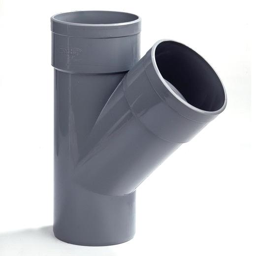 PVC T-stuk met 2 moffen 70x70mm 45